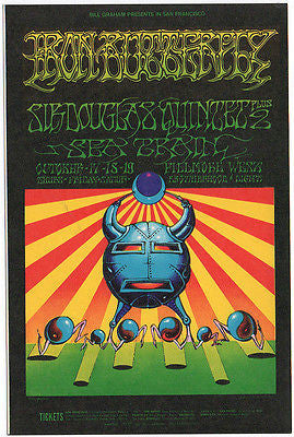 BEAUTIFUL VINTAGE MINT 68 IRON BUTTERFLY FILLMORE CONCERT POSTCARD BG141 GRIFFIN