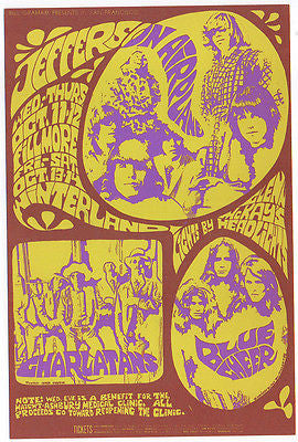 1967 THE CHARLATANS JEFFERSON AIRPLANE BLUE CHEER FILLMORE CONCERT POSTCARD BG88