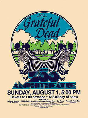 BEAUTIFUL MINT 1982 GRATEFUL DEAD OKLAHOMA CITY CONCERT POSTER 100% GREEN
