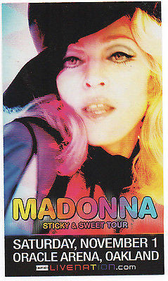 SMALL BUT SWEET MINT '08 MADONNA STICKY & SWEET TOUR OAKLAND CA CONCERT HANDBILL