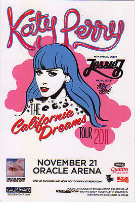 CUTE MINT ORIGINAL KATY PERRY OAKLAND CALIFORNIA ORACLE ARENA CONCERT HANDBILL !
