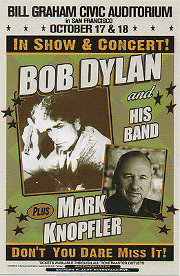 MINT 2012 BOB DYLAN MARK KNOPFLER BILL GRAHAM CIVIC AUDITORIUM CONCERT HANDBILL
