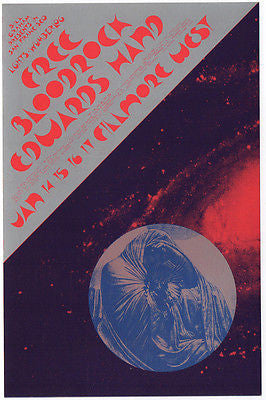VERY NICE MINT '71 FREE BLOODROCK FILLMORE WEST SHOW POSTCARD BG266 DAVID SINGER