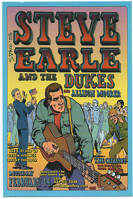 SWEET MINT '05 STEVE EARLE SANTA CRUZ CONCERT HANDBILL SIGNED BY SPAIN RODRIGUEZ