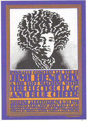 ICONIC& MINT JIMI HENDRIX LOS ANGELES SHRINE AUDITORIUM POSTCARD VAN HAMMERSVELD