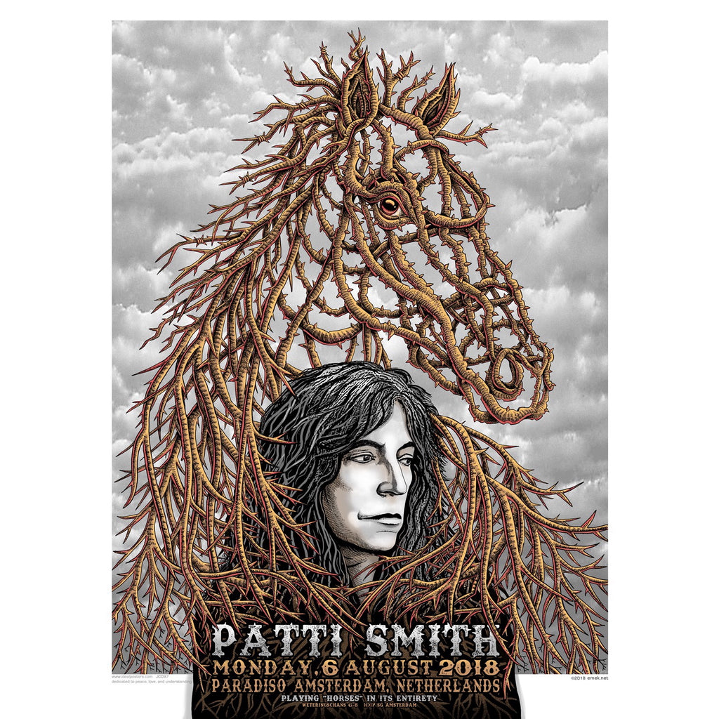 BEAUTIFUL PATTI SMITH AMSTERDAM CONCERT POSTER EMEK NIGHT 1