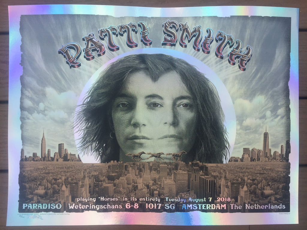 BEAUTIFUL PATTI SMITH AMSTERDAM CONCERT POSTER EMEK NIGHT 2  FOIL VARIANT