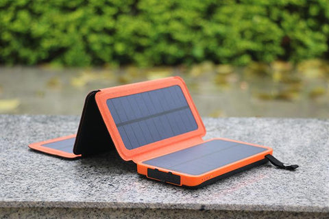 Portable Shockproof 10000 mAh Power Bank with Foldable Solar Panel Charger & LED Light