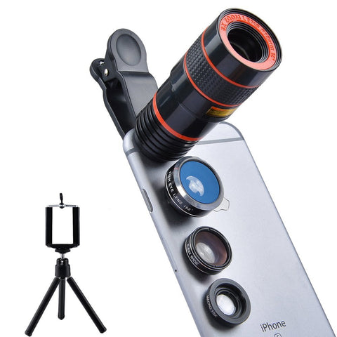 4 in 1 Camera Lens & Tripod for iPhone and Android Smartphones
