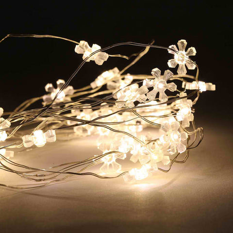Dimmable 10ft  LED Flower-Shaped String Fairy Lights Battery Powered w/Remote Control