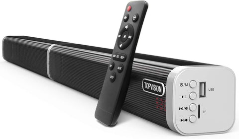 60 Watt, 39-inch Detachable Stereo Soundbar Subwoofer, Strong Bass Wired and Wireless Bluetooth 5.0 Audio Speakers