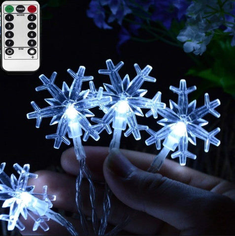 Dimmable 10ft  LED Snowflakes-Shaped String Fairy Lights