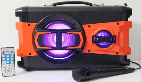 Portable Powerful BT Karaoke Speaker System with Microphone, LED Light & FM Radio