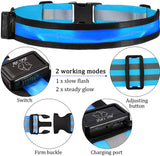 Rechargeable LED Reflective Belt and Arm Wrist Bands Set for Safety Running Jogging Biking Gear