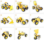 10-in-1 DIY Yellow Building Construction Truck Robot Car Set