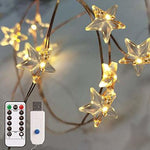 Dimmable 10 ft LED Star String Fairy Lights Battery Powered w/Remote Control
