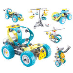 10-in-1 Blue DIY Kit Building Robot Helicopter Construction Truck