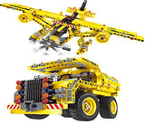 2 in 1 DIY Airplane & Monster Truck Set 361 Pieces, Build Helicopter Excavation Bob Cat Building Control Set 6802