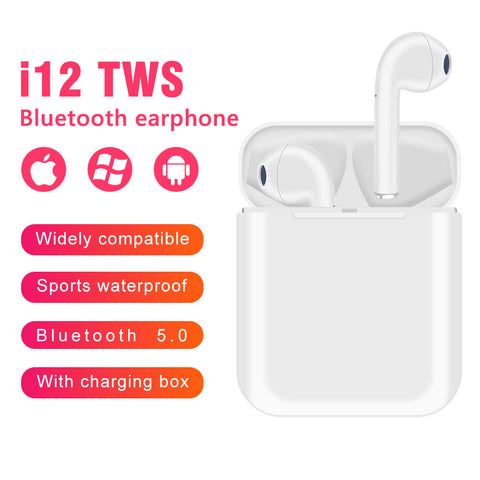 i12 Bluetooth 5.0 Wireless Earbuds With Fast Charging Case  in-Ear Built-in Mic Headset