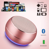 Portable Bluetooth Speakers with HD Audio and Enhanced Bass, Built-in Speakerphone for iPhone, iPad, BlackBerry, Samsung and More (Rose Gold)