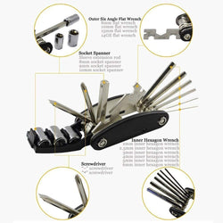 Bike Repair Tool Kits - 16 in 1 Multifunction Bicycle Mechanic Fix Tools Set Bag with Tire Patch Levers, Practical Gift