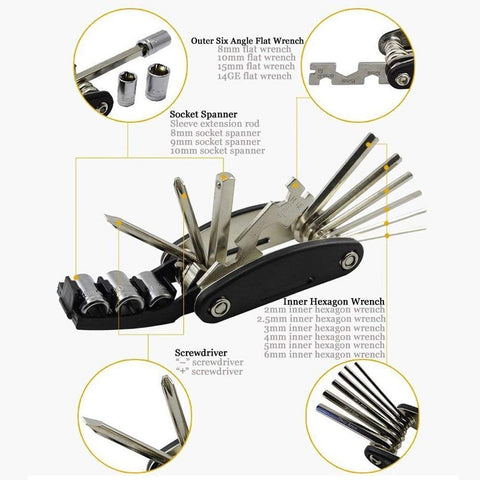 Bike Repair Tool Kits - 16 in 1 Multifunction Bicycle Mechanic Fix Tools Set Bag