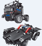 2 in 1 DIY Battery-Powered Tow Truck & Race Car with 4 Channel Remote & USB Rechargeable Battery