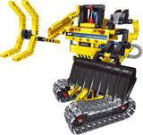 2 in 1 DIY Yellow Construction Truck & Transformer Robot Set, 342 Piece Blocks