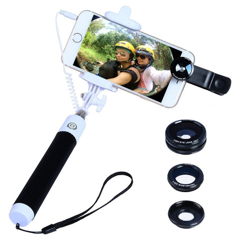 Photo Essential Foldable Selfie Stick & 3-in-1 Lens Set