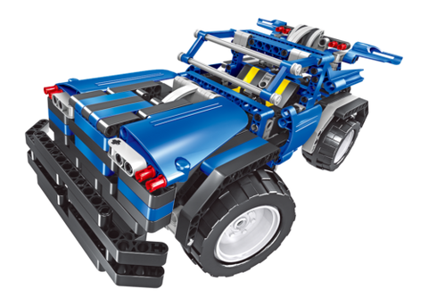 2 in 1 Constructechs DIY Remote Control Vehicles Space Racer or a Sports Jeep, Blue