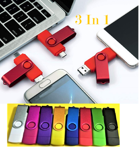 3 in 1 USB Flash Drive 64 -128 GB Picture Keeper Photo Memory Stick for Android/Type-C/Smartphone/Mac/PC/Laptop