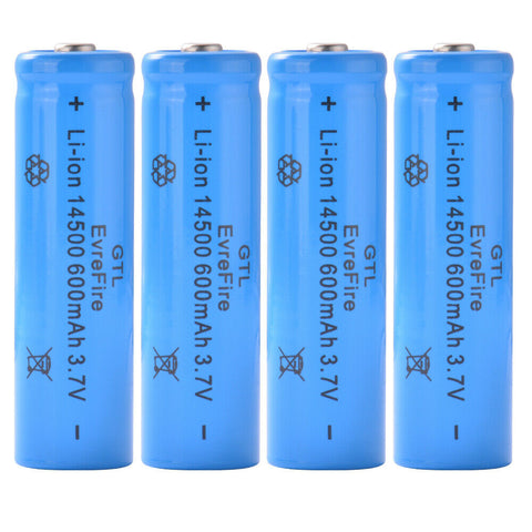 4Pcs Genuine GTL 14500 Battery 3.7V Rechargeable Li-ion 600mAh Blue
