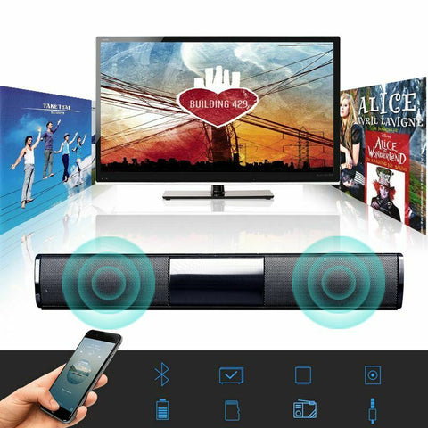TV Soundbar Bluetooth Sound Bar Speaker Built-in Subwoofer System HomeTheater