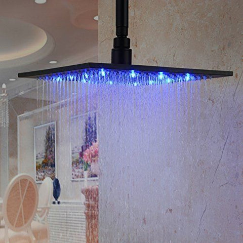 12 Inch Square Stainless Steel Thin Rain Shower Head With Led Lights