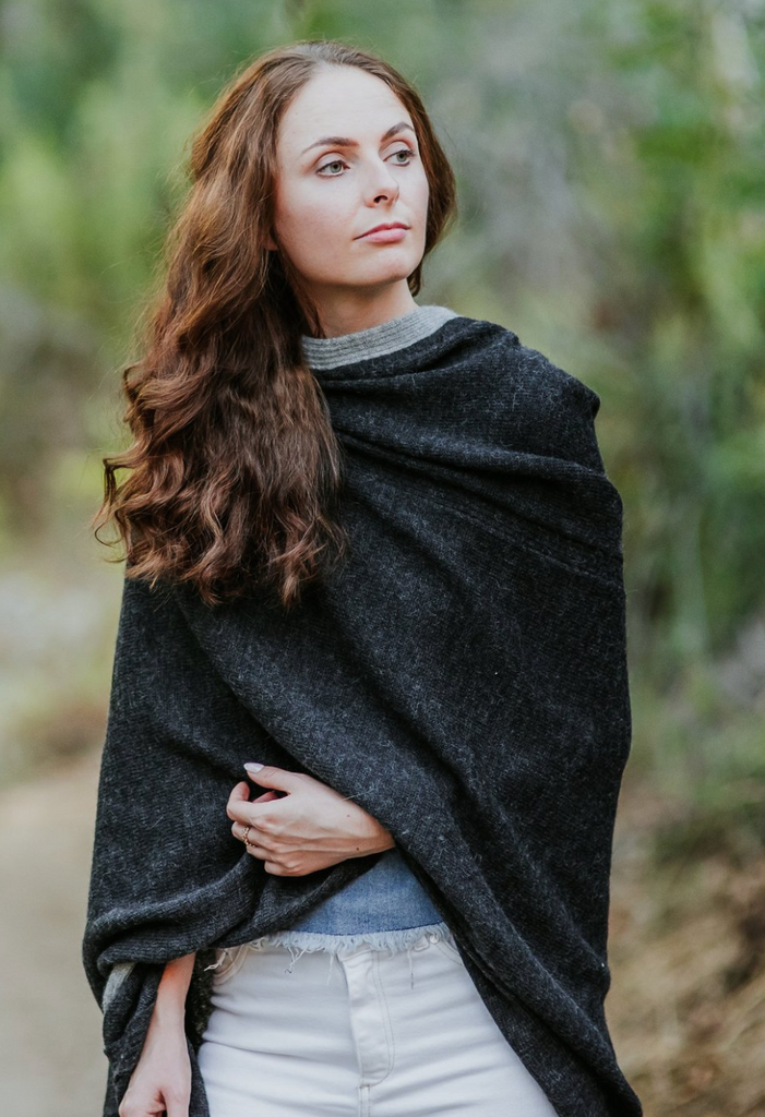 Petite Hooded Travel Wrap in Deep Charcoal