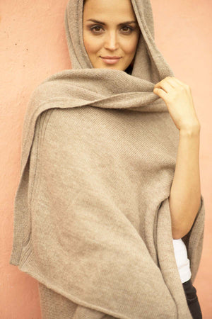Mocha Hooded Travel Wrap
