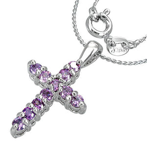Fashion Alloy Prong-Set Cross Charm Necklace w/ February Birthstone Amethyst CZ- CCZ122