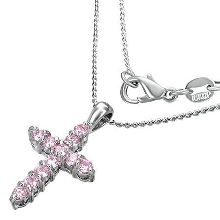 Fashion Alloy Pave-Set Cross Charm Necklace w/ October Birthstone Rose Pink CZ - CCZ217