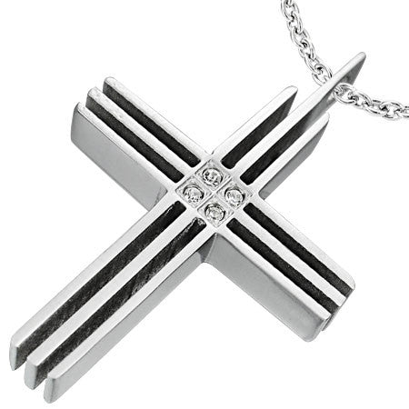 Stainless Steel Cut-out Geometric Cross Pendant w/ Clear CZ - DPA016
