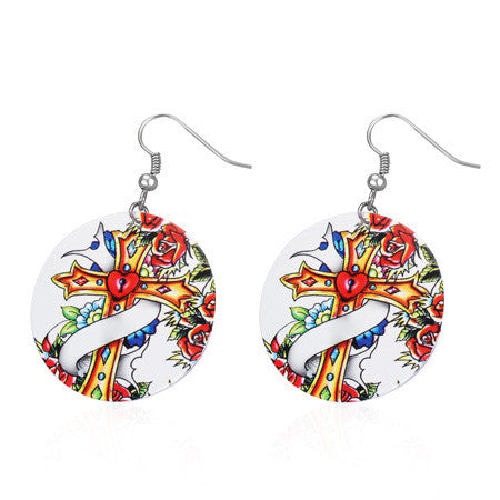 Stainless Steel Rose Flower Vine Cross Heart Painted Circle Disc Long Drop Hook Earrings (pair) - EPP178
