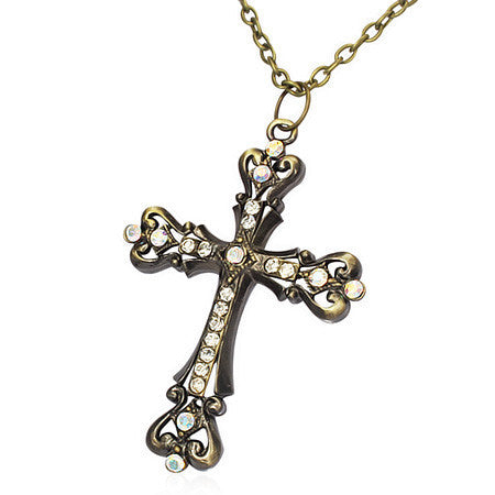 Fashion Alloy Vintage Fleur De Lis Cross Charm Necklace w/ Clear & Topaz CZ - FDD092