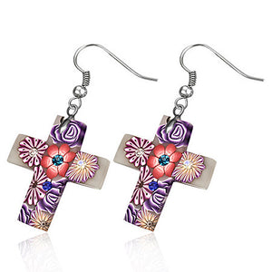 Fashion Fimo/ Polymer Clay Rose Flower Cross Long Drop Hook Earrings (pair) - FEM396
