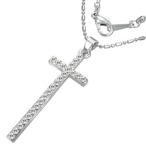 Fashion Alloy Latin Cross Charm Necklace w/ CZ - FNZ033