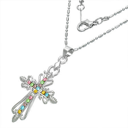 Fashion Channel-Set Eternity Fleur De Lis Cross Charm Necklace w/ Colorful CZ - FNZ140