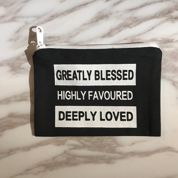 Greatly Blessed coin pouch - white on black