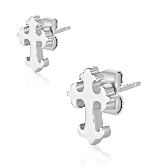 Stainless Steel Fleur De Lis Cross Stud Earrings (pair) - JES024