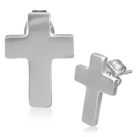 Click to enlarge 	 Stainless Steel Latin Cross Stud Earrings (pair) - JES186