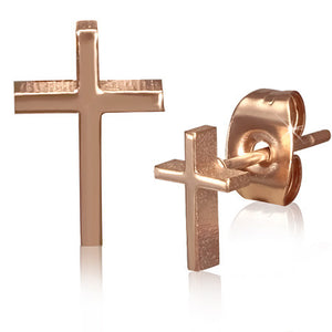 Rose/ Pink Gold Color Plated Stainless Steel Latin Cross Stud Earrings (pair) - JES233