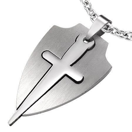 Stainless Steel 2-Part Cut-out Cross/Sward Shield Pendant - PAC191