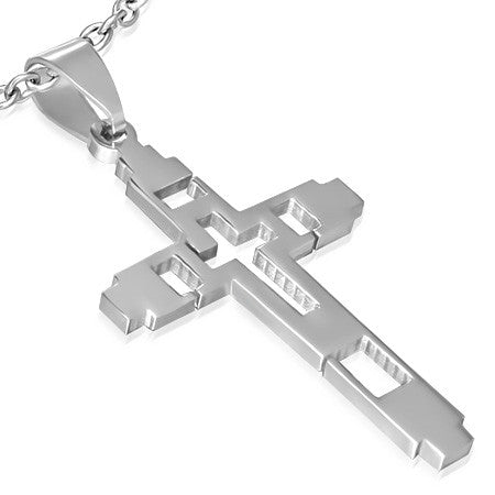 Stainless Steel Cut-out Latin Cross Pendant - PAC251
